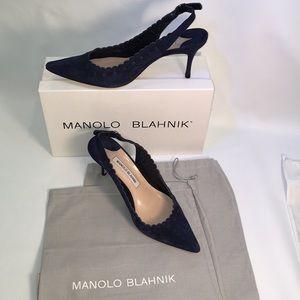 Manolo Blahnik navy suede sling backs